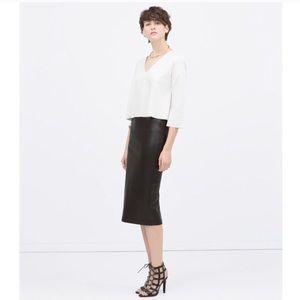 Zara Faux Leather Pencil Skirt Black XS EXCELLENT